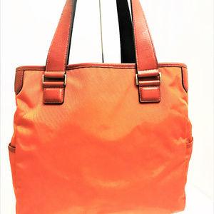 TUMI Leather Trimmed Nylon Large Tote Handbag